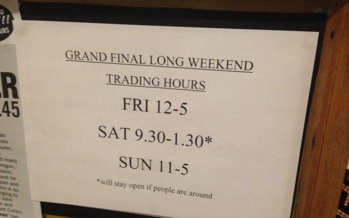GRAND FINAL WEEKEND TRADING HOURS